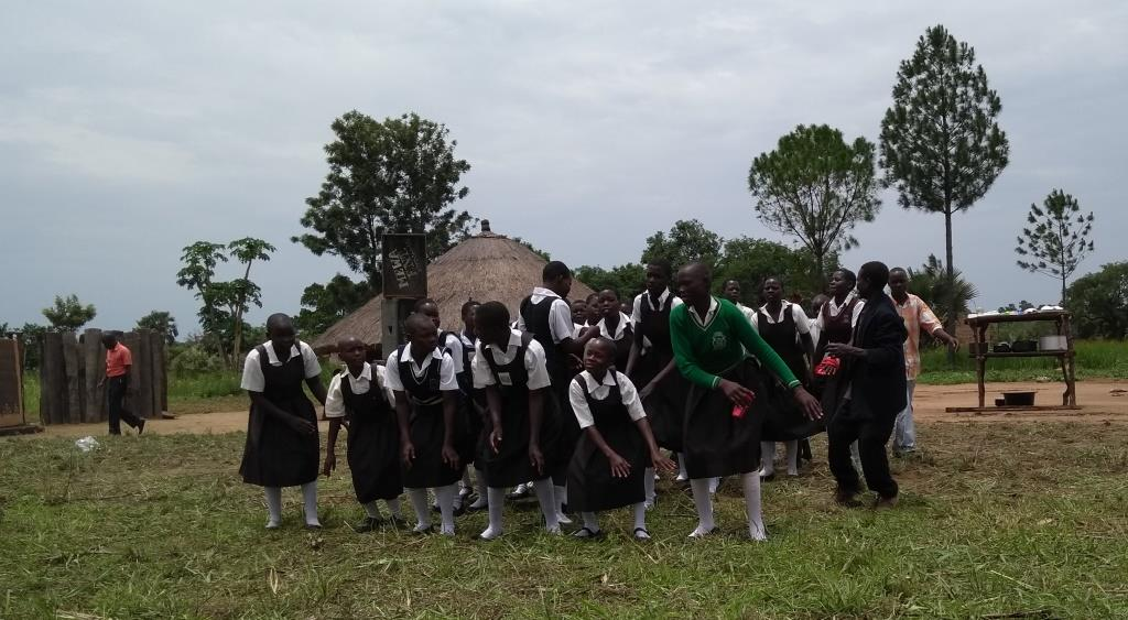 school girls performing during the celebration