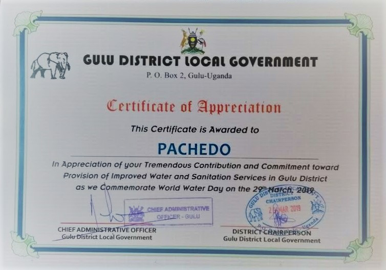 PACHEDO's certificate of appreciation