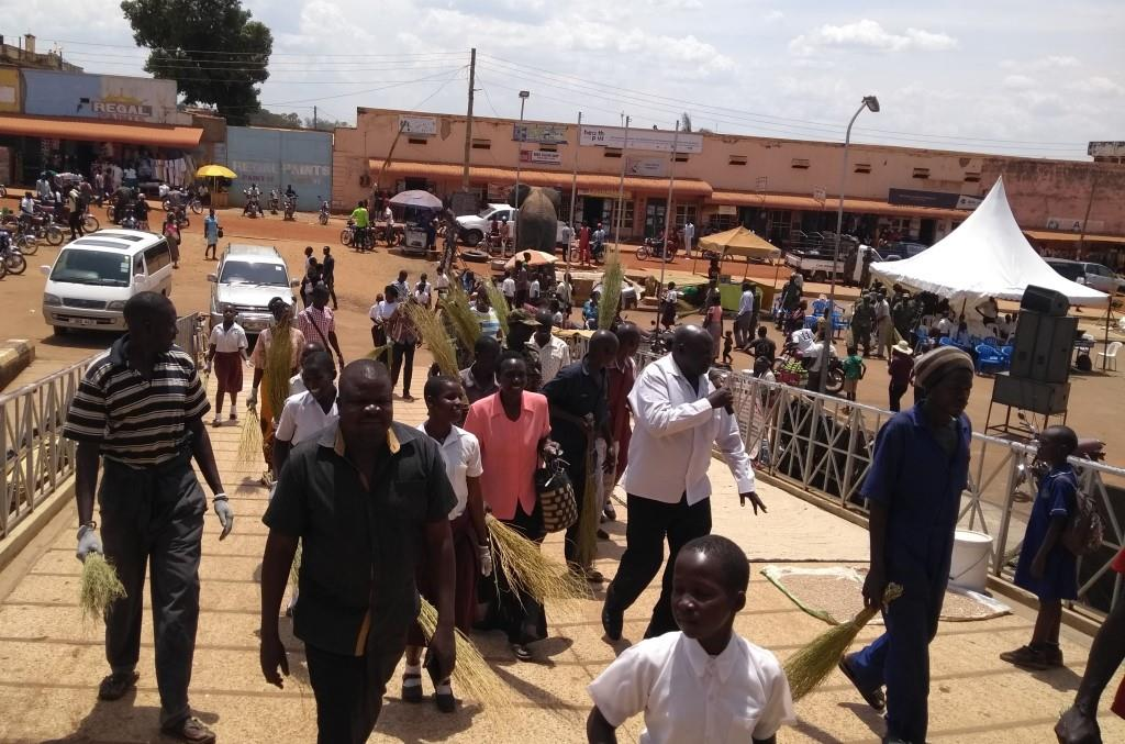 Participants of sanitation day ready to clean up Gulu main market